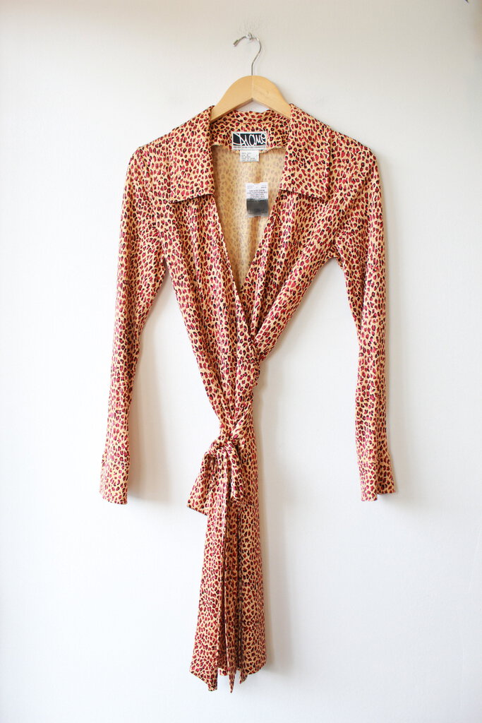 VINTAGE DIANE VON FURSTENBURG RED BROWN LEOPARD SILK JERSEY WRAP DRESS SZ 6/FITS 2-4