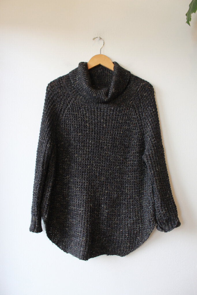 FREE PEOPLE SPECKLED CHARCOAL KNIT WOOLEN TURTLENECK SZ M