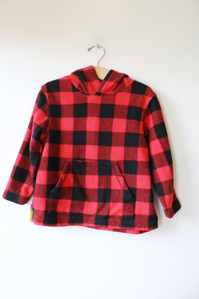 HANNA RED BUFFALO PLAID FLEECE HOODIE SZ 100/3-5Y
