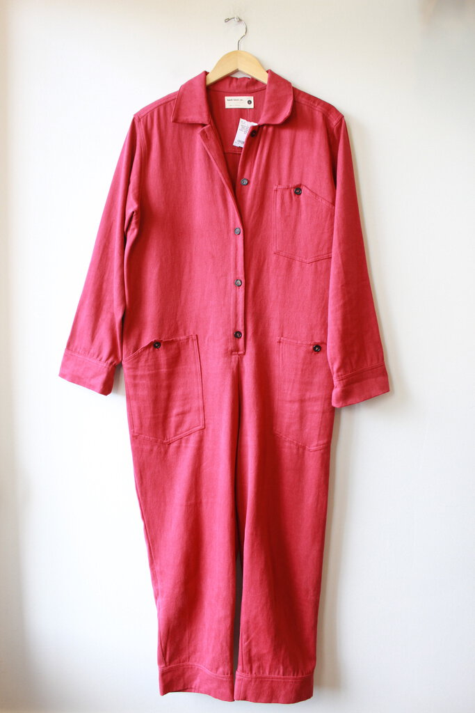 BACK BEAT CO. RED ORGANIC COTTON/HEMP TWILL BOILER SUIT SZ L