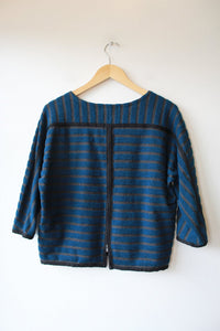 MADEWELL DEEP TEAL CHARCOAL HEAVY KNIT BOXY TOP SZ XS