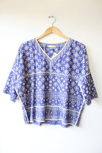 Load image into Gallery viewer, ISABEL MARANT ETOILE COBALT & WHITE CUTWORK VNECK HALF-SLEEVE SZ S
