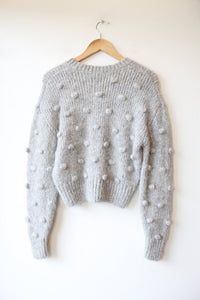 & OTHER STORIES LIGHT GREY WOOL ALPACA BLEND CROPPED POPCORN SWEATER SZ XS