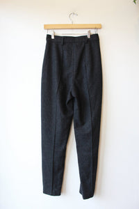7115 BY SZEKI CHARCOAL FULLY LINED WOOL BLEND TROUSERS SZ S
