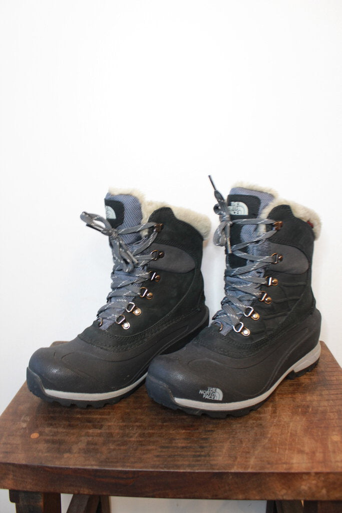 THE NORTH FACE BLACK INSULATED SNOW HIKING BOOTS SZ 9