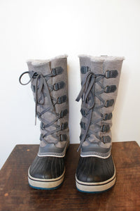 SOREL TIVOLI GREY BLACK LACE UP SNOW BOOT SZ 7.5