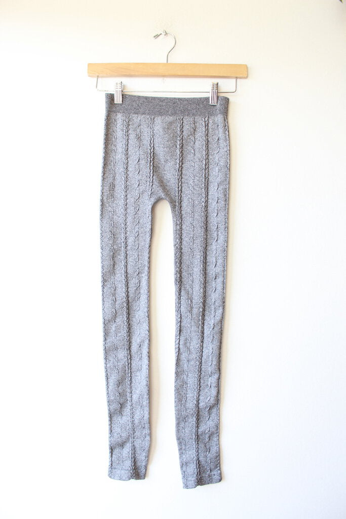 New Niki Biki Heather Black Braid Knit Leggings (One Size)