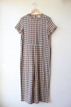 Load image into Gallery viewer, RITA ROW BROWN BLACK IVORY PLAID JUMPSUIT SZ M