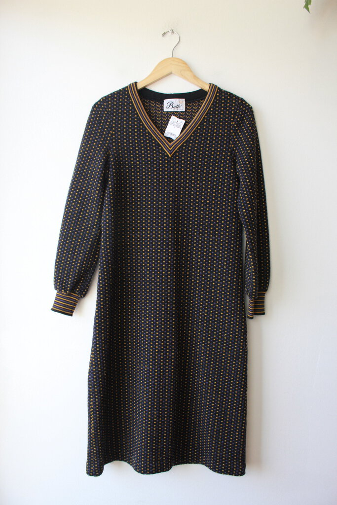 VINTAGE BUTTE BLACK GOLDEN PURPLE WOOLEN SWEATER DRESS SZ M