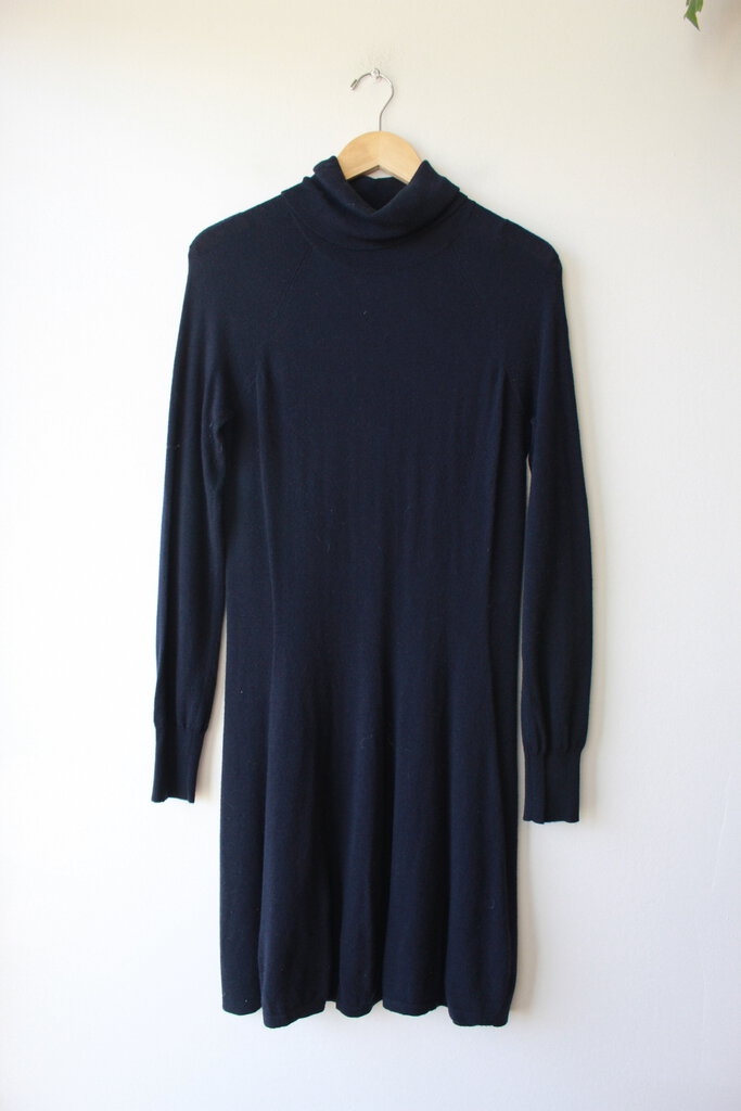 MAGASCHONI NAVY MERINO BLEND TURTLENECK FIT AND FLARE SWEATER DRESS SZ M
