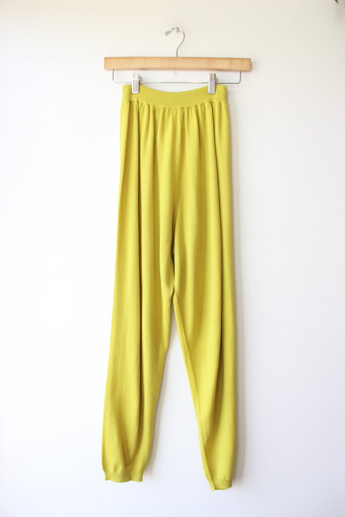 BABAA TROUSERS NO 25 IN CHARTREUSE (RETAIL $155) (AS IS: FEW SPOTS)
