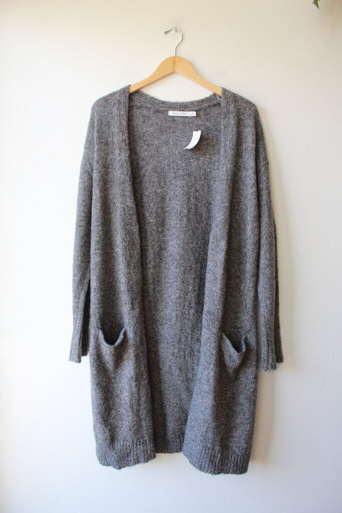 BISHOP + YOUNG GREY LONG OPEN CARDIGAN SZ S