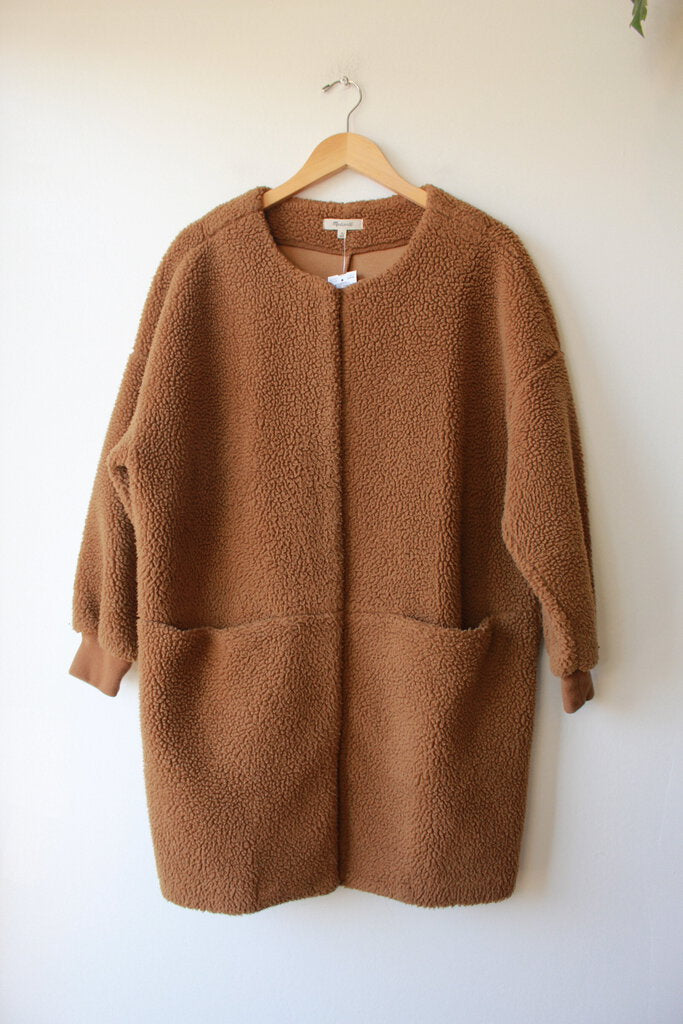 MADEWELL BONDED SHERPA COCOON COAT IN BROWN SZ M (AS IS: WEAR)