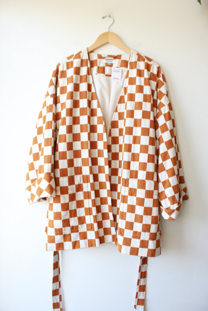 MADEWELL CHECKERBOARD WRAP JACKET SZ XL