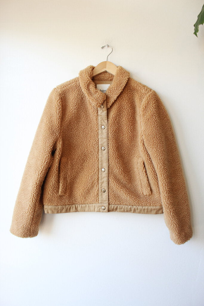 MADEWELL SHERPA SNAP FRONT JACKET IN BROWN SZ L