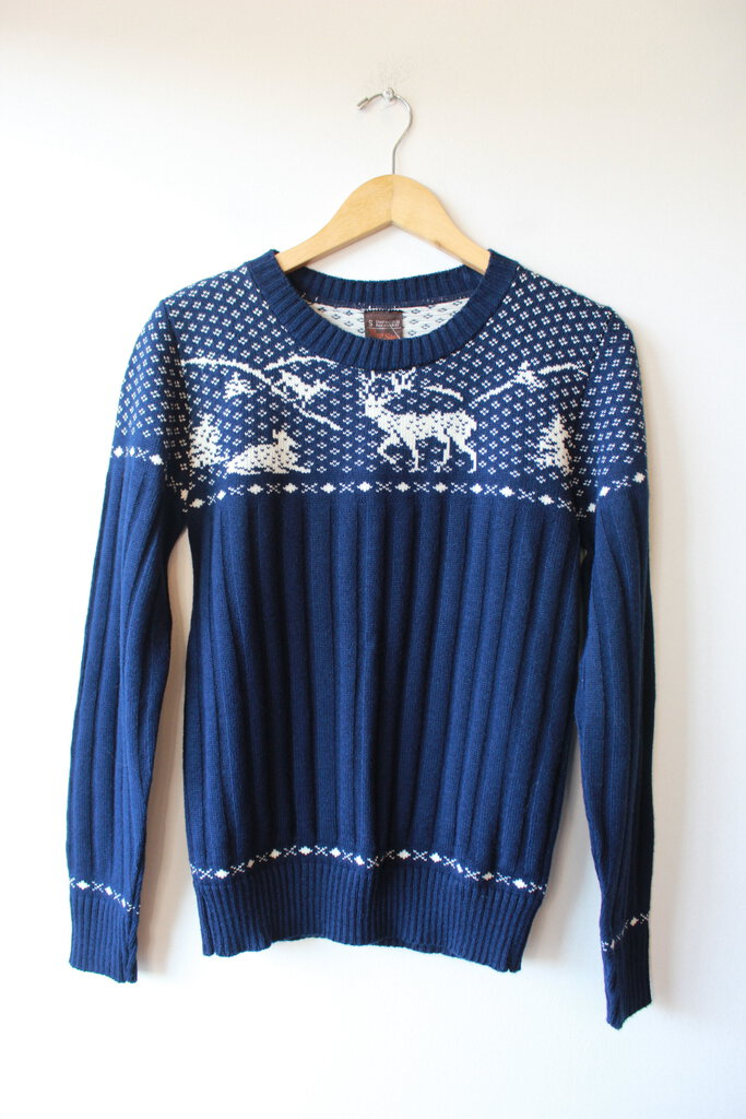 VINTAGE JC PENNY PREP SHOP NAVY NORDIC SWEATER SZ S