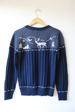 Load image into Gallery viewer, VINTAGE JC PENNY PREP SHOP NAVY NORDIC SWEATER SZ S