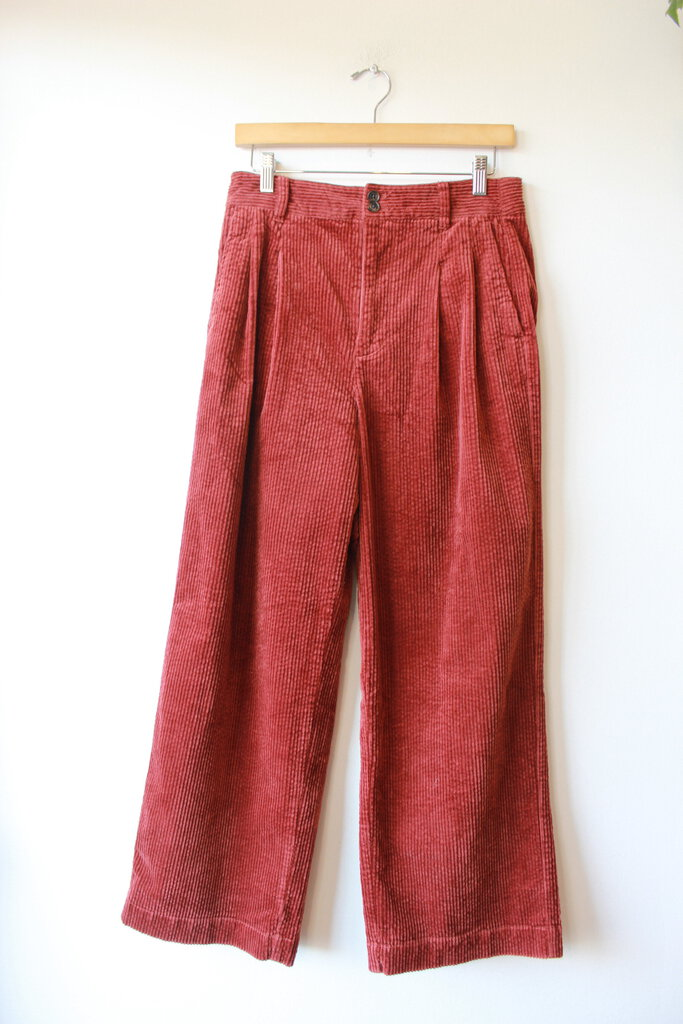 MADEWELL PLEATED WIDE LEG CORDUROY PANTS IN RUST SZ 4