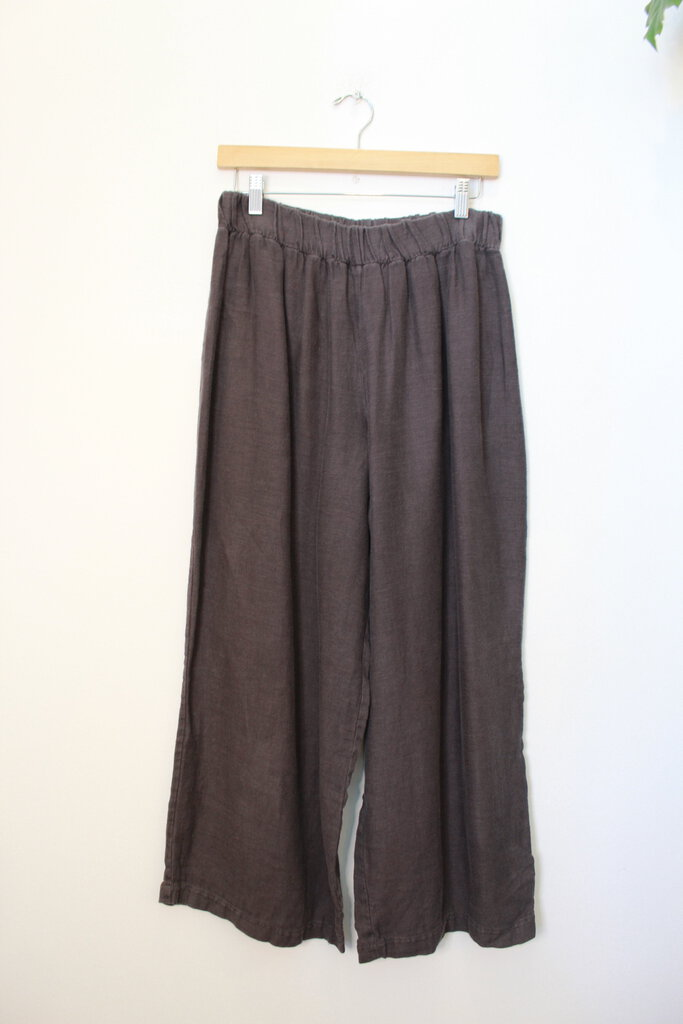 ELIZABETH SUZANN CHARCOAL LINEN FLORENCE PANT SZ L (AS IS: OLDER + WEAR)