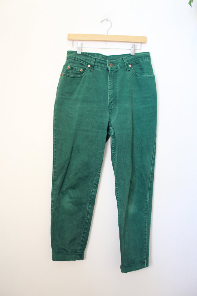 VINTAGE LEVI'S HIGH RISE TAPERED FOREST GREEN JEANS SZ 8-10 (VINTAGE WEAR)