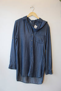 CLOTH & STONE DITSY PRINT TENCEL CHAMBRAY TUNIC BUTTON DOWN WITH BELT SZ S