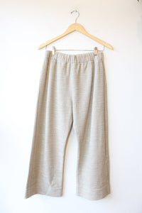 HACKWITH DESIGN HOUSE 2PC ECRU TWEED KNIT WIDE LEG PANT + CROP TOP SET SZ M/L NWT