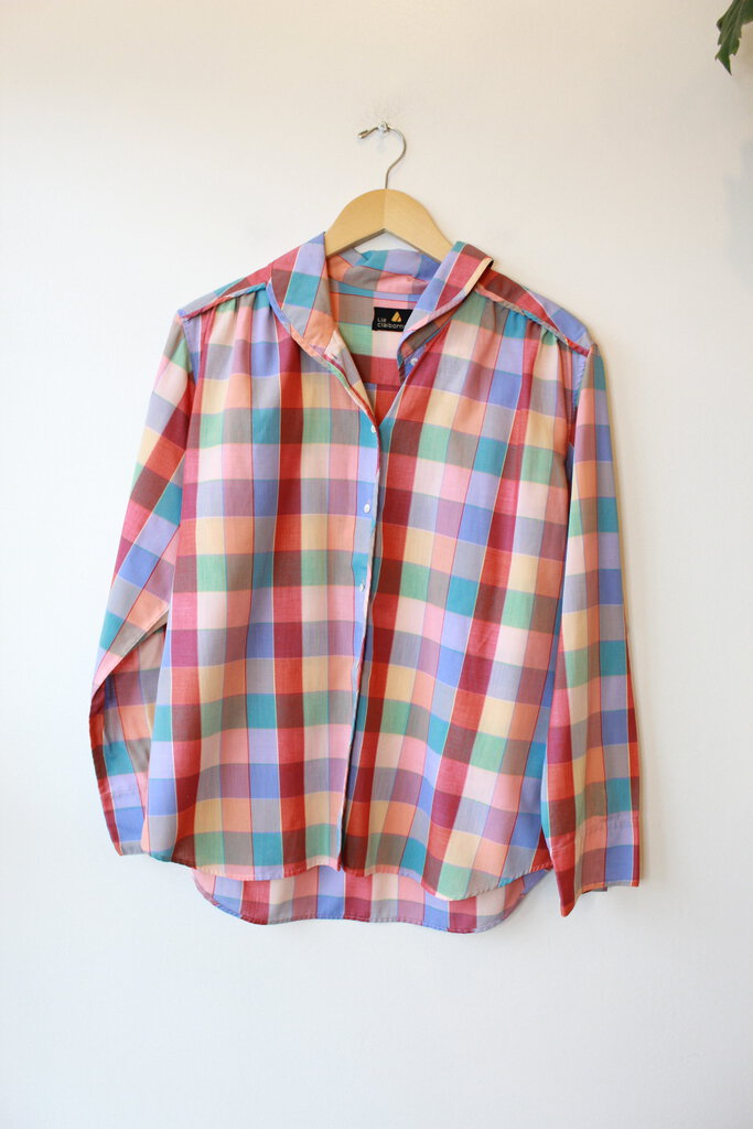 VINTAGE LIZ CLAIBORNE PEACHY BLUE PLAID BUTTON DOWN SZ 14