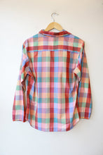 Load image into Gallery viewer, VINTAGE LIZ CLAIBORNE PEACHY BLUE PLAID BUTTON DOWN SZ 14