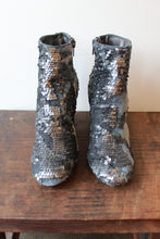 Load image into Gallery viewer, FARYLROBIN PEWTER SEQUIN BOOTIES SZ 7.5
