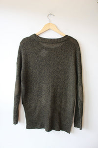 RD STYLE OLIVE BLACK HEATHER BOXY SWEATER SZ S