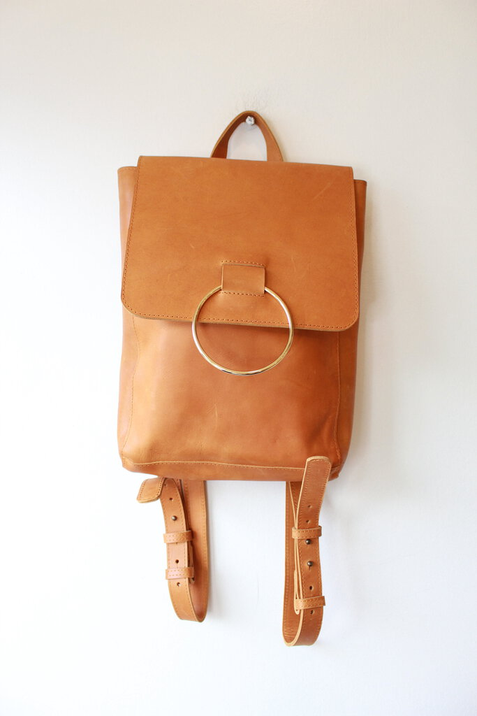 ABLE FOZI BACKPACK IN NATURAL TAN LEATHER
