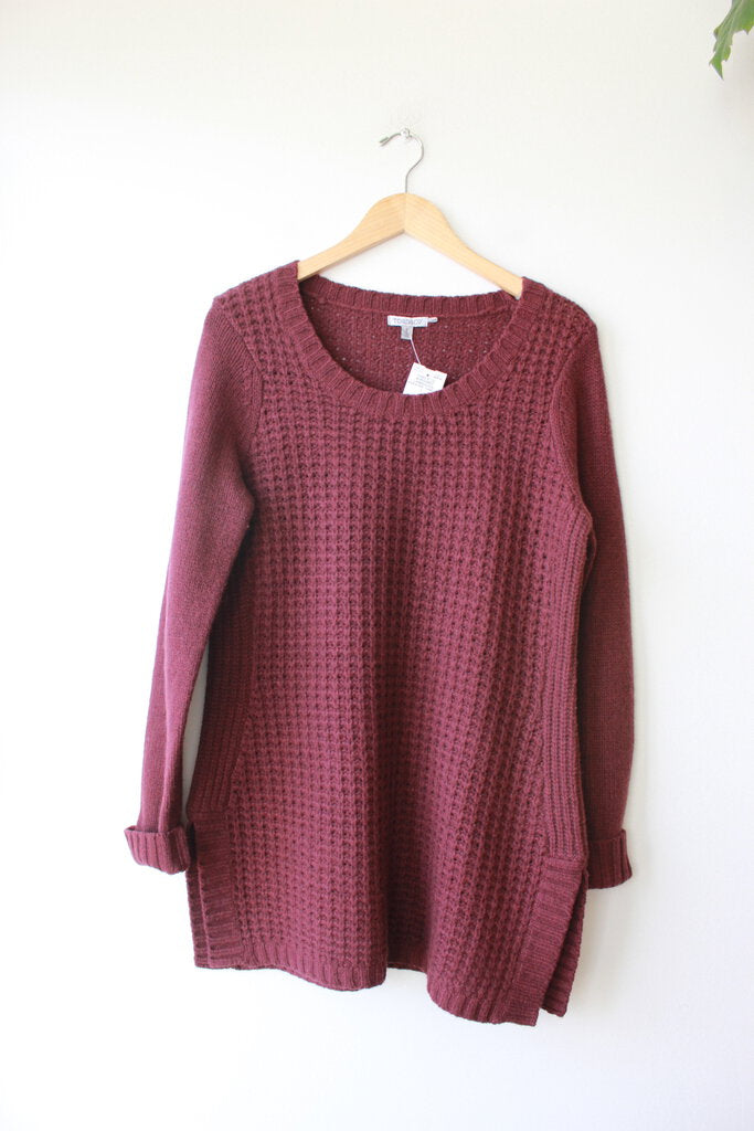 TOAD & CO BURGUNDY LAMBSWOOL SWEATER TUNIC SZ L