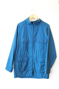 VINTAGE WOOLRICH DEEP TEAL HOODED LIGHTWEIGHT PARKA SZ M (NOT WATERPROOF)