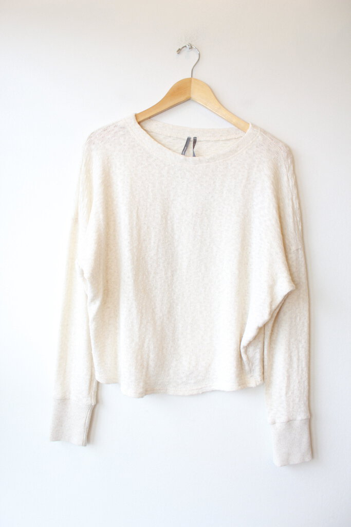 ANTHROPOLOGIE IVORY KNIT BOXY LIGHTWEIGHT SWEATER TOP SZ M