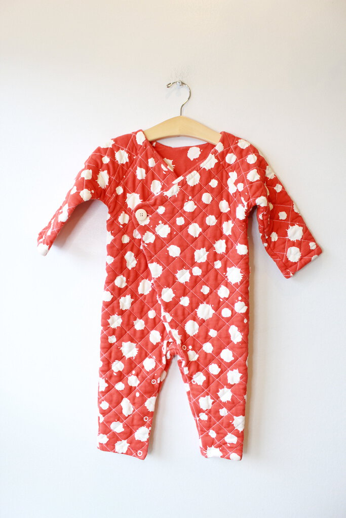 NOE + ZOE BERLIN RED PAINT SPLOTCHED QUILTED JUMPSUIT SZ 18-24M