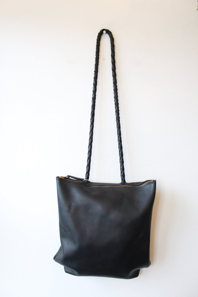 BLACK LEATHER HANDMADE CONVERTIBLE PURSE WITH BRAIDED STRAPS (AS IS: WEAR)
