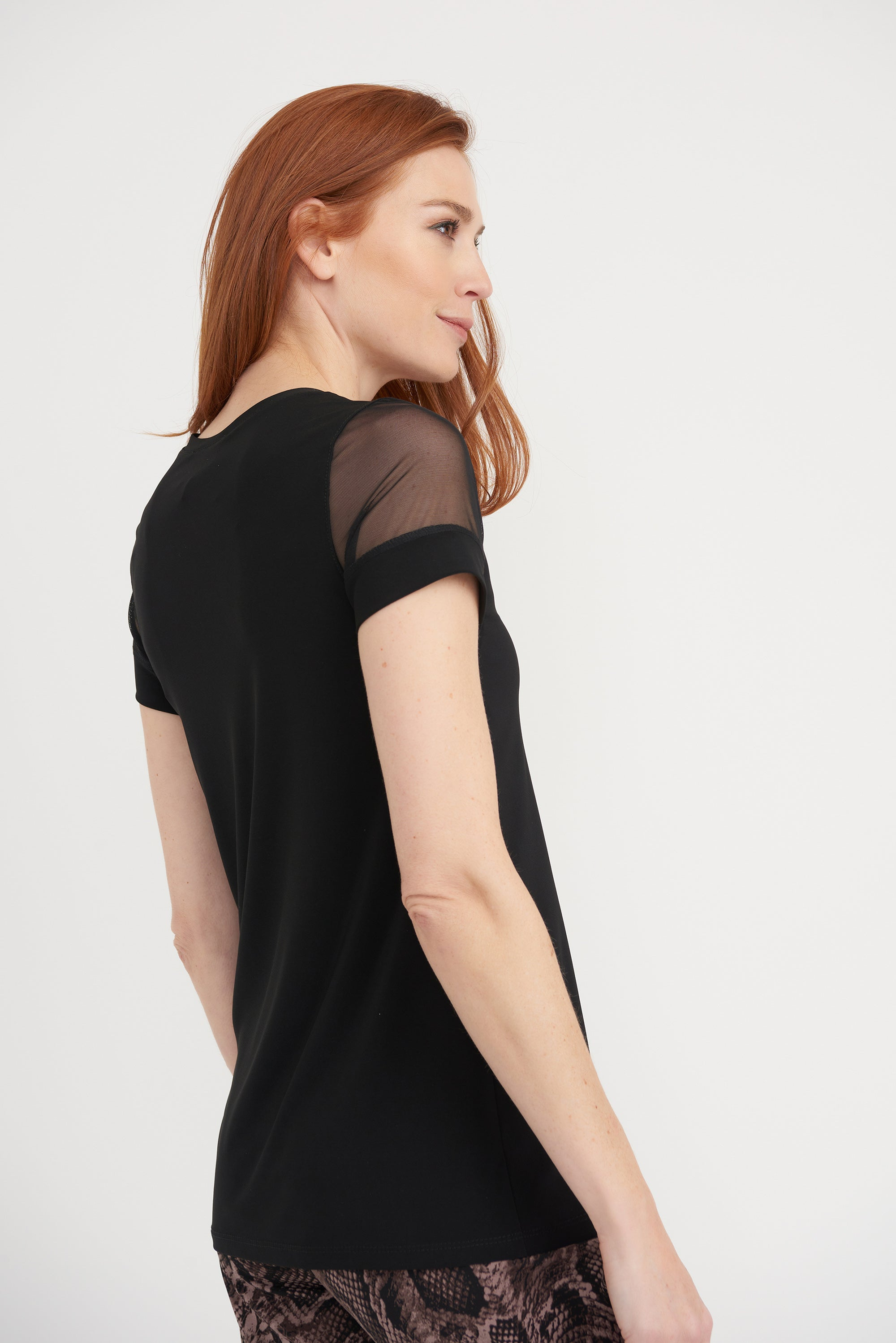 Joseph Ribkoff Black Top with Mesh Sleeve