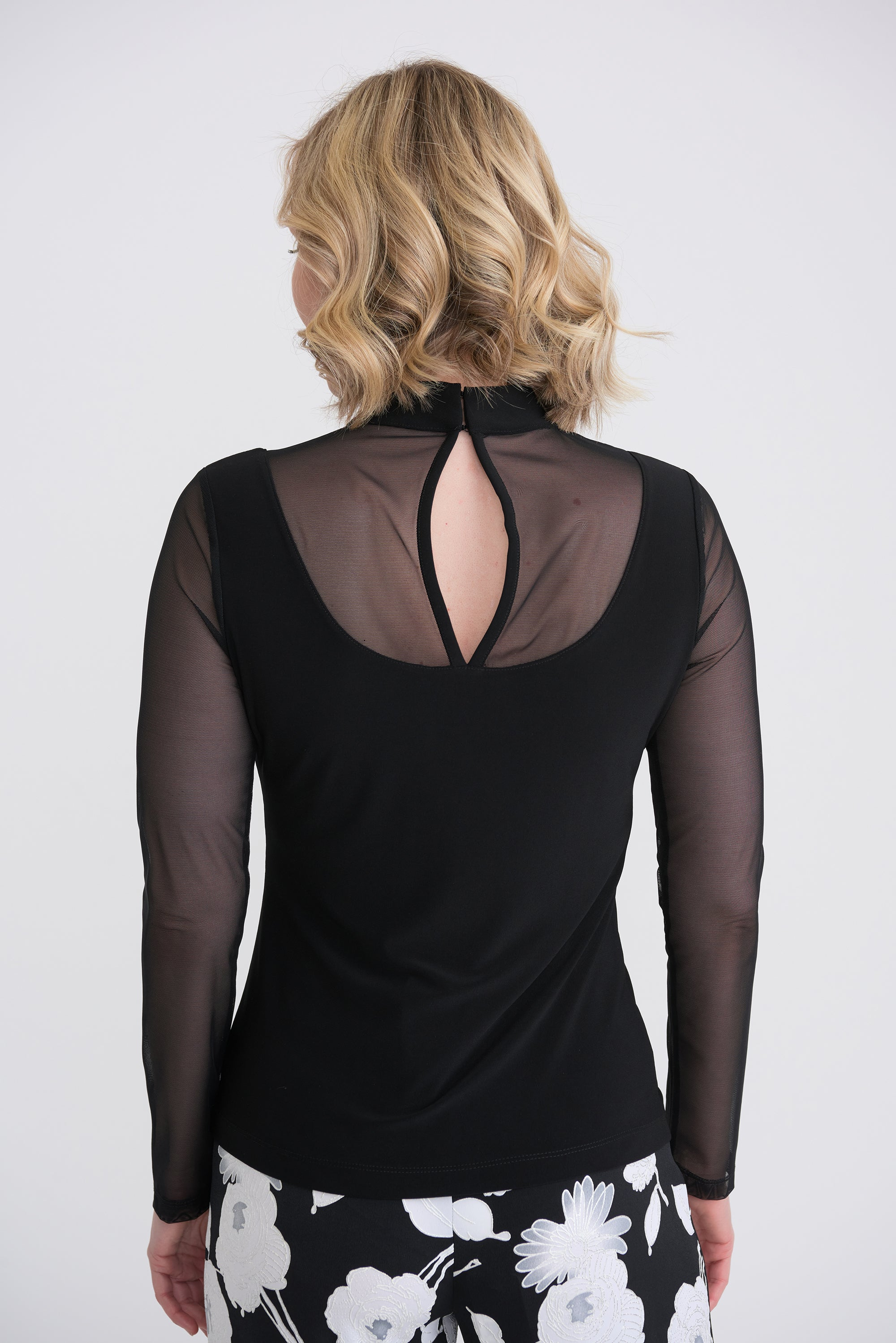 Joseph Ribkoff Black Top With Mesh Detail