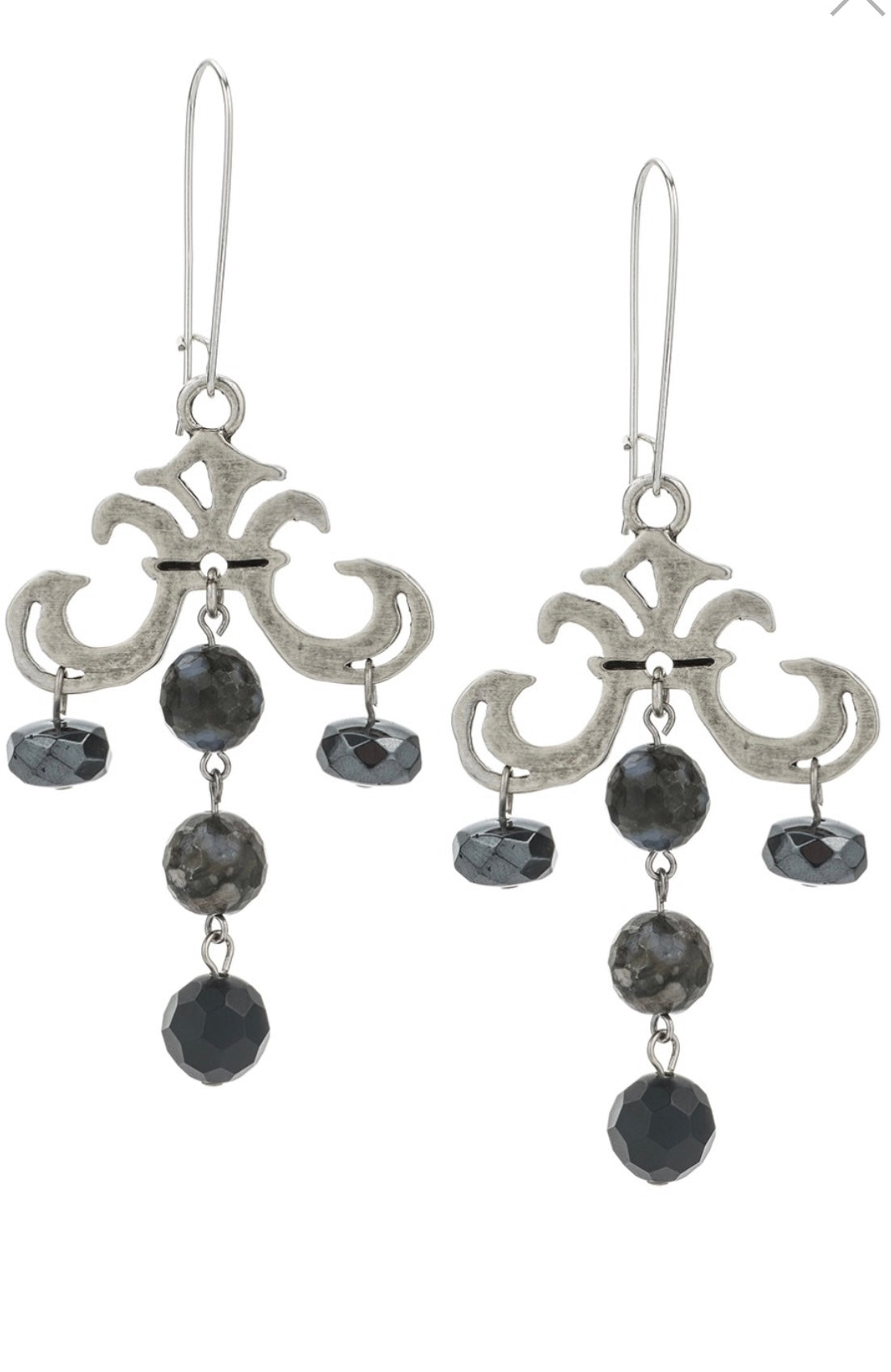 French Kande GRAND FLEUR DROP EARRINGS WITH NUIT MIX DANGLES