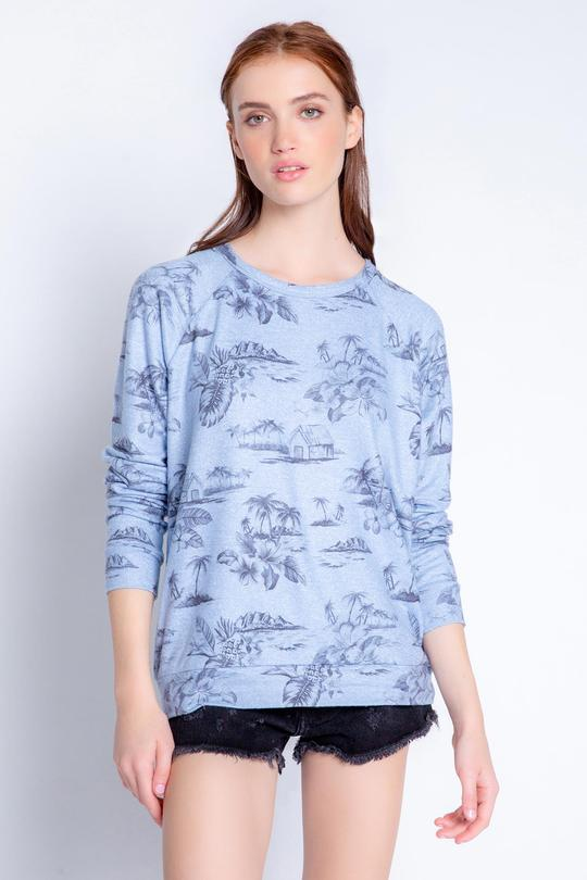 Pj Salvage Scenic Printed Jersey Knit Long Sleeve Crew Neck Sleep Top