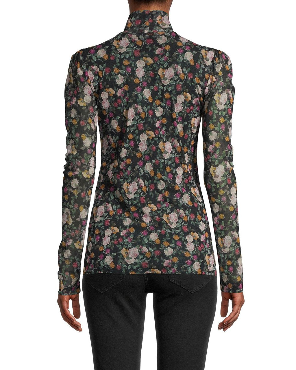 Nicole Miller Printed Mesh Top Rose