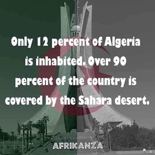 Only 12% of the country is inhabited, heavily covered by the Sahara