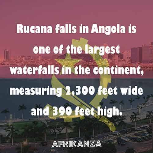 Rucana falls in Angola is one of the largest waterfalls in the continent both in volume and width once and still a wonder to behold.