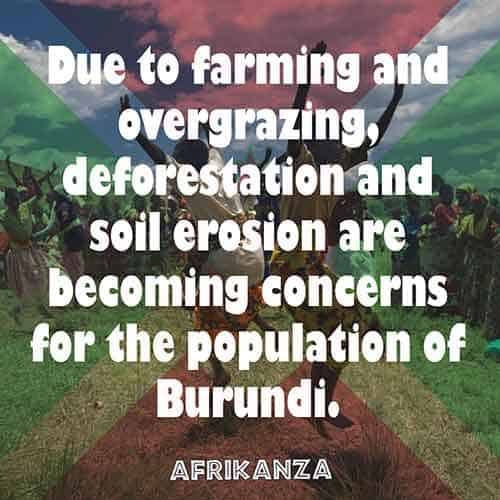 Due to farming and overgrazing, deforestation and soil erosion are becoming concerns for the population of Burundi