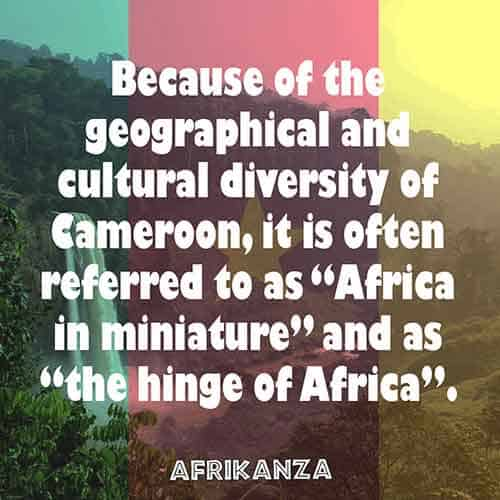 "Because of the geographical and cultural diversity of Cameroon, it is often referred to as ""Africa in miniature"" and as ""the hinge of Africa""."