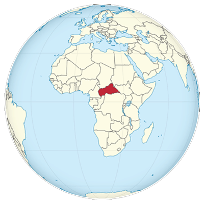 Central African Republic On The Globe