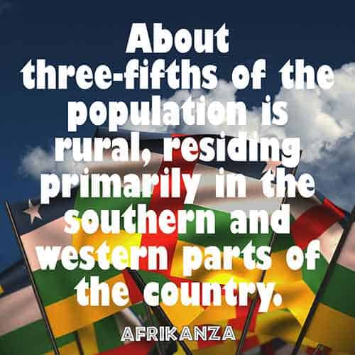 About three-fifths of the population is rural, residing primarily in the southern and western parts of the country