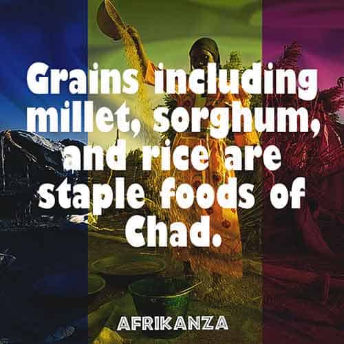 Grains including millet, sorghum, and rice are staple foods of Chad