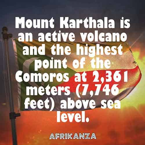 Mount Karthala is an active volcano and the highest point of the Comoros at 2,361 meters (7,746 feet) above sea level