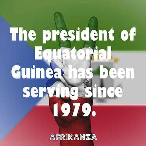 The president of Equatorial Guinea has been serving since 1979